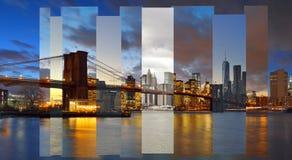 Brooklyn Bridge. Manhattan skyline with Brooklyn Bridge - collage Royalty Free Stock Photography