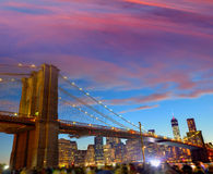 Brooklyn bridge and Manhattan skyline July 4th Stock Photography