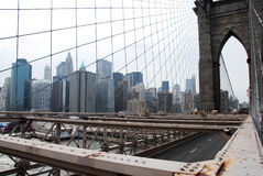 Brooklyn Bridge and Manhattan Skyline in New York Stock Photography