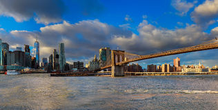 The Brooklyn Bridge and Manhattan Skyline from , New York. Royalty Free Stock Photos
