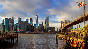 The Brooklyn Bridge and Manhattan Skyline from , New York. Royalty Free Stock Images