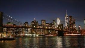 The Brooklyn Bridge and Manhattan skyline from New York. The Brooklyn Bridge and Manhattan Skyline from Brooklyn, New York stock video footage