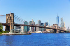 Brooklyn Bridge and Manhattan skyline New York Stock Image