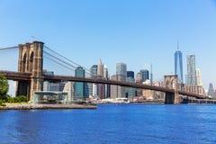 Brooklyn Bridge and Manhattan skyline New York Stock Image