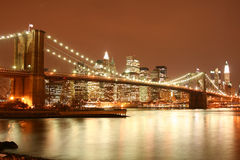 Brooklyn Bridge and Manhattan skyline At Night Royalty Free Stock Photo