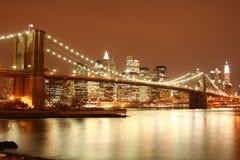 Brooklyn Bridge and Manhattan skyline At Night royalty free stock photo