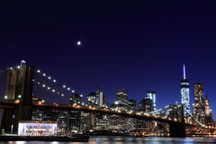 Brooklyn Bridge and Manhattan Skyline At Night Royalty Free Stock Photography