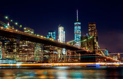 Brooklyn Bridge and Manhattan Skyline Night, New York City Stock Photos