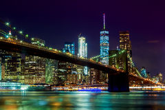 Brooklyn Bridge and Manhattan Skyline Night, New York City Stock Image