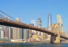 Brooklyn Bridge. Manhattan skyline with Brooklyn Bridge at sunny day Stock Photography