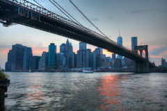 The Brooklyn Bridge with the Manhattan skyline  at sunset Royalty Free Stock Image