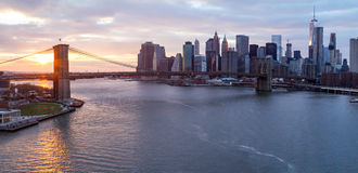 Brooklyn Bridge and Manhattan Skyline at Sunset Stock Photos