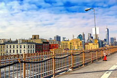 Brooklyn Bridge in Manhattan with skyscrapers. New York City Royalty Free Stock Photography