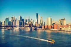 Brooklyn bridge and Manhattan at sunny day. New York City Stock Image
