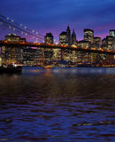 Brooklyn Bridge and Manhattan at sunset Royalty Free Stock Photos