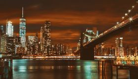 Brooklyn Bridge and Manhattan at sunset, New York stock photography