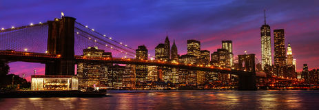 Brooklyn Bridge and Manhattan at sunset Royalty Free Stock Photo