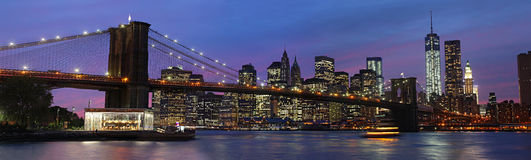 Brooklyn Bridge and Manhattan at sunset Royalty Free Stock Photography