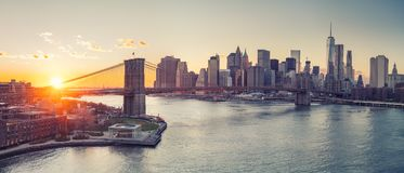 Brooklyn bridge and Manhattan at sunset Stock Image