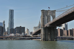 Brooklyn bridge and manhattan view Stock Images