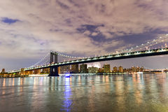Brooklyn Bridge and Manhattan View with Fireworks Royalty Free Stock Photo