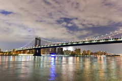 Brooklyn Bridge and Manhattan View with Fireworks Stock Photography