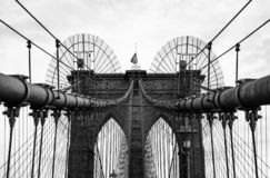 Brooklyn Bridge in monochrome , New York City, USA. Brooklyn Bridge in black and white , New York City, USA stock photo