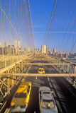Brooklyn Bridge at morning Rush hour going into Manhattan, NY Stock Images