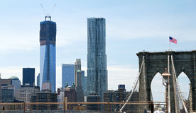 Brooklyn Bridge and New World Trade Center Stock Images