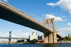 Brooklyn bridge in New York on bright  day Royalty Free Stock Photo