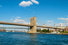 Brooklyn bridge in New York on bright  day Royalty Free Stock Images