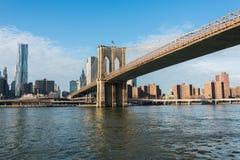 Brooklyn bridge in New York on bright Royalty Free Stock Photos