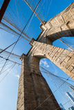 Brooklyn bridge in New York on bright summer day Royalty Free Stock Photo