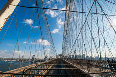 Brooklyn bridge in New York on bright summer day Stock Photo
