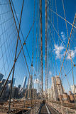 Brooklyn bridge in New York on bright summer day Stock Image
