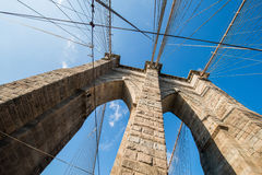 The brooklyn bridge in new york on bright summer Stock Image
