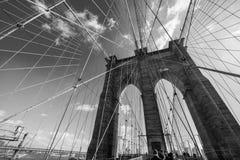 Brooklyn bridge in New York on bright summer day Stock Photos