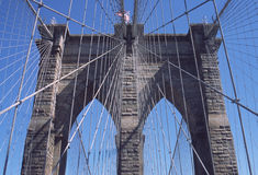 Brooklyn Bridge New York City USA. Worlds first wire suspension bridge, the Brooklyn Bridge, carrying traffic and pedestrians since 1883 between Brooklyn and Royalty Free Stock Photography