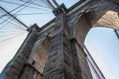 Brooklyn Bridge at New York City. Detail from the Brooklyn Bridge at New York City Stock Photo