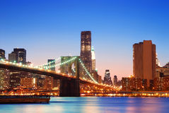Brooklyn Bridge and New York City Manhattan Stock Photography