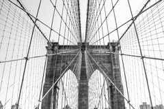 Brooklyn bridge New York city NYC. In black and white contrast royalty free stock photo