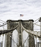 The Brooklyn Bridge. Is a bridge in New York City and is one of the oldest suspension bridges in the United States. Completed in 1883, it connects the boroughs Stock Photos