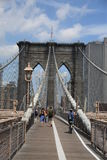 Brooklyn Bridge - New York City Skyline. Pedestrians stroll the19th century bridge under arches and steel cables Royalty Free Stock Images