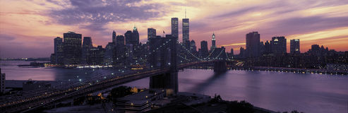 Brooklyn Bridge and New York City skyline Stock Images