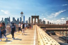 Brooklyn bridge and New York City Skyline daytime royalty free stock image