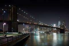 Brooklyn Bridge and New York city skyline at night Royalty Free Stock Photo