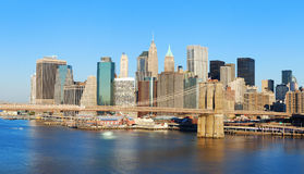 Brooklyn Bridge and New York City skyline panorama Stock Photo