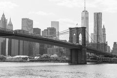 Brooklyn Bridge. New York City, USA - May 20, 2014: The Brooklyn Bridge in black and white Stock Photography