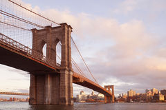 Brooklyn Bridge, New York City, USA. Brooklyn Bridge, New York City, November 21, 2015: view from Manhattan Midtown with the famous landmark on the left-hand Royalty Free Stock Images