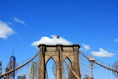 Brooklyn Bridge, New York City, USA. The Brooklyn Bridge over East River in New York City, USA Stock Images